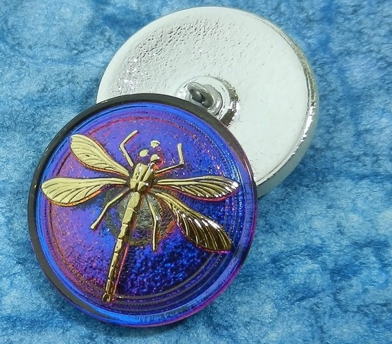 Czech Glass Button Twilight Blue with Gold Dragonfly Purple Highlights