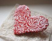 Brooch Shawl Pin / Heart Coral Rose Pink / Handmade Jewelry Jewellery Filigree