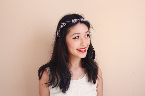 rustic love hair wreath (lilac lavender) - wedding headpiece, headband, vintage inspired flower rose crown, peach, dainty small ribbon tie.