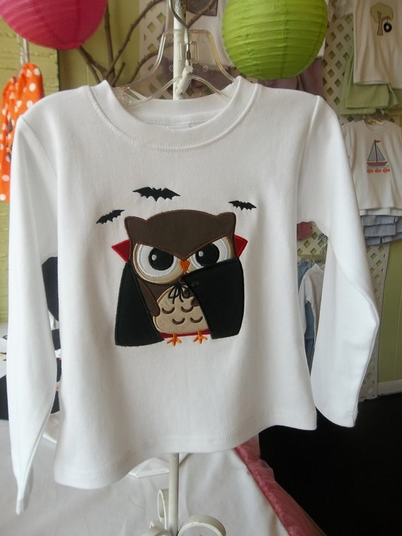 Personalized Vampire Owl Appliqued Halloween Tee
