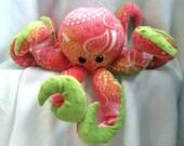 Handmade Plush Pink, Orange and Green Octopus