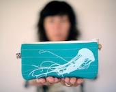 eco friendly handprinted jellyfish pouch in aqua