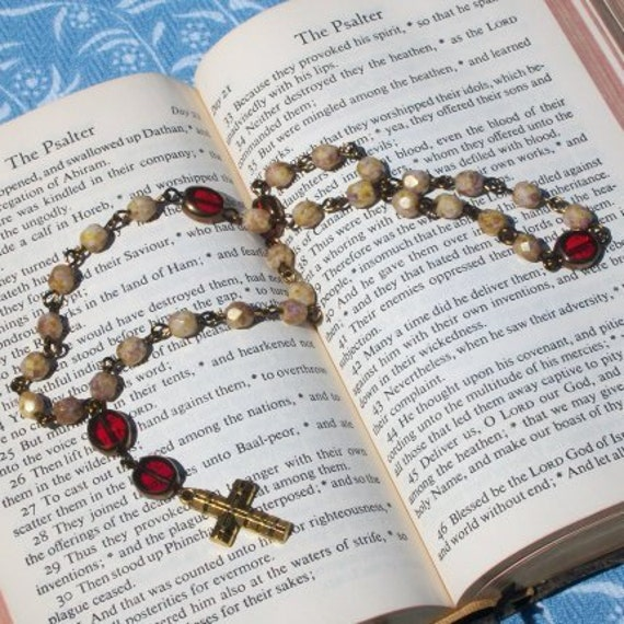 SALE Anglican Rosary Red and Tan