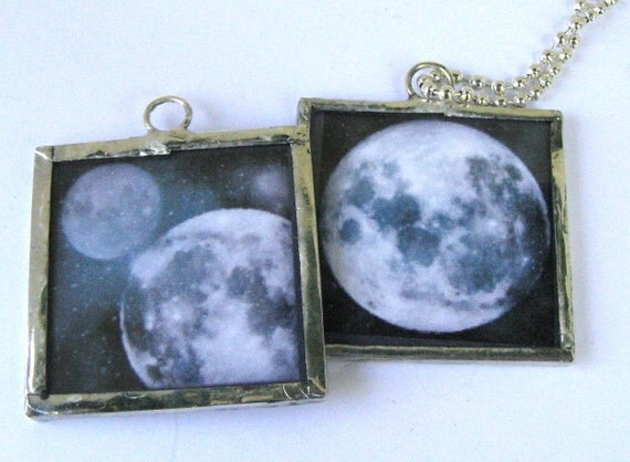 Glass Art Pendant Necklace - Blue Moon by NASA - Two Sided Soldered Glass Art Charm