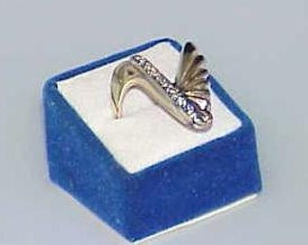 14K .50Ct 11 Diamond Crazy V Mid Century Modern Retro Ring Yellow Gold Sz 9 Space Age