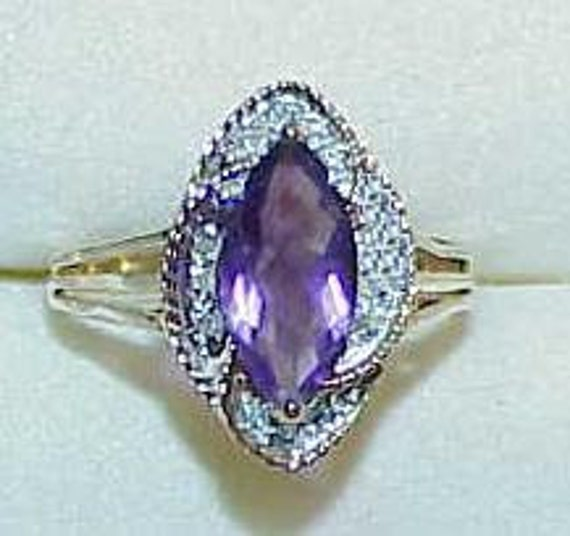 14K Amethyst Marquise 12 Diamond Marquise design Ring Size 7 1/2