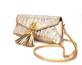 Goldie, French Vintage, Gold Leather 1980s Tassle Crossbody Party Handbag from Paris