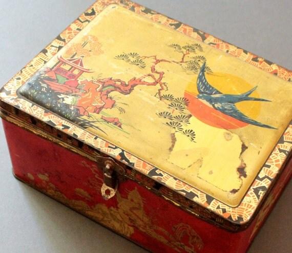 Vintage English Blue Bird Toffee Tin