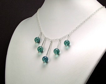 Blue Fluorite & Sterling Silver Necklace - N585