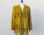 Vintage Super Soft Mustard Yellow Suede Fringed Jacket by Cheatin' Heart Size M