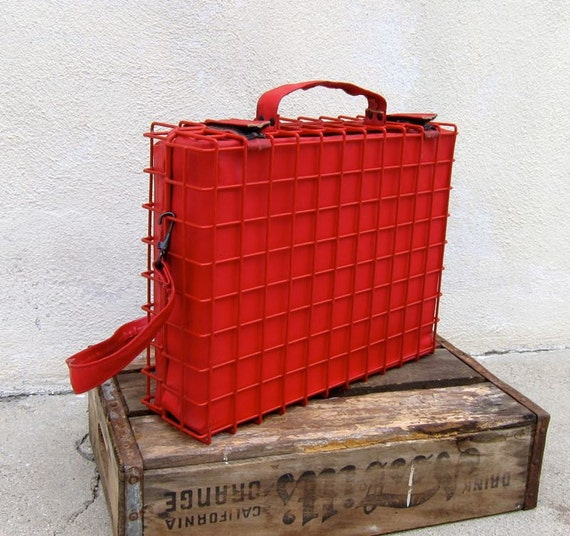 Vintage Red Metal Caged Briefcase Work Bag w/Shoulder Strap