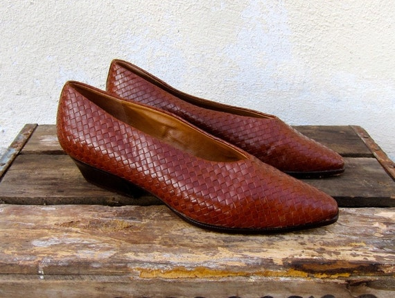 Vintage Woven Brown Leather Heeled Ballet Shoes Ladies Size 9