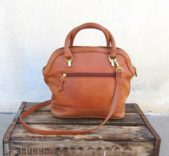 Vintage Distressed Tan Leather Speedy Style Purse w/Strap