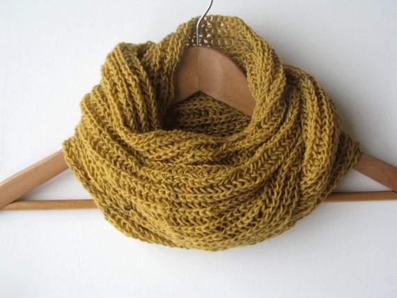 Mustard yellow chunky wool scarf - handknitted - for him