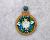 Monogram Christmas ornament gift, with vintage embroidery, wood, fabric, beads, gift for her, S, any letter available