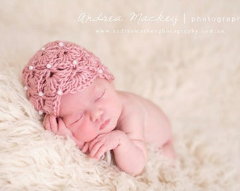 Pearl Adorned Fan crocheted hat- Made to order.