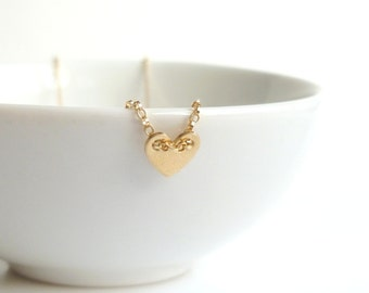 Tiny Gold Heart Necklace - 14K gold filled rolo chain with a little brass heart pendant - simple, delicate and minimalist