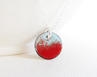 Enamel Necklace, Robin Egg Blue, Flame Candy Apple Red, Enamel Pendant, Sterling Silver Necklace, Enameled Copper Jewelry