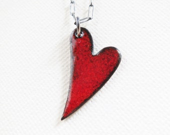 Enamel Heart Pendant Necklace - Candy Apple Red Heart Copper Enamel Oxidized Sterling Silver
