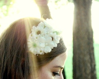 cream and  white wedding flower headband, crown for women, bride: lily