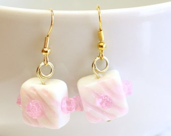 Birthday Present Earrings - White and Pink Birthday Present Lampwork Bead Earring - Girls Birthday Party Accessories