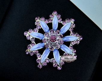 RD254  Large PURPLE Flower Rhinestone Flatback Crystal Metal Embellishment Brooch DIY Wedding Bridal Bouquet flower hair