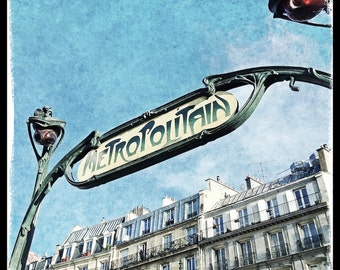 Paris Photography, French Wall Art, Paris Decor, Romantic, Art Nouveau, Pastel, Metro Sign, Iconic, Fine Art Travel Photography