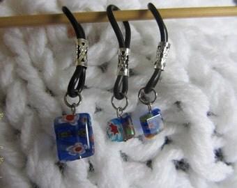 Blue Flowered Bead 3 piece Sock Set - Hug & Hold Stitch Markers - sz 0-15