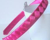 Girl Satin Hard Heaband: hand woven from azalea ribbon half inch wide