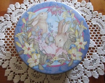 Velvet Rabbit Vintage Tin Container - Easter Tin - NEAR MINT Condition - 1984 - by Marty Noble and Sunshine Publications