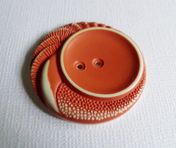 Vintage Buffed Celluloid Dark Coral Button