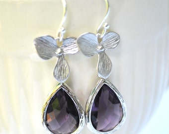 Purple Earrings Orchid Flower in Sterling Silver Amethyst - Bridesmaid Gifts Bridal Jewelry Set of 2, 3, 4, 5 ,6 ,7 ,8 ,9 10, 11, 12