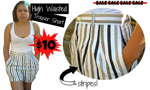 SALE Striped High Waisted Cuffed Trouser Short SALE