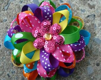 Rainbow Hair Bows Loopy Flower Hair Bow round hair bow girls hair bow summer hair bow flower hairbow hair clip