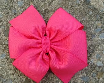 SALE Large Shocking Pink Pinwheel Hair Bow