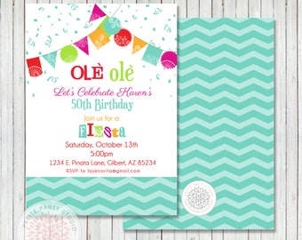 Fiesta Fifty Printable Birthday Party Invite - Petite Party Studio