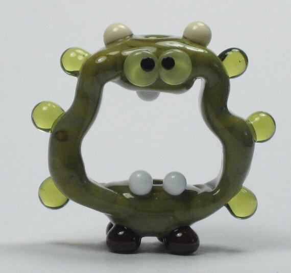 Olive Green Screaming Alien Lampwork Glass Handmade SRA Bead NLC Beads