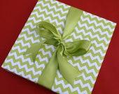 Green Chevron Premium Wrapping Paper