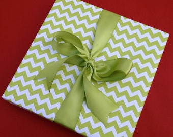 Green Chevron Premium Wrapping Paper