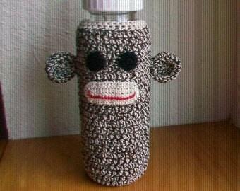 Sock Monkey baby bottle cover (Large size)