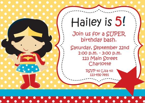 Superhero girl birthday party invitation -- girl superhero -- You print or I print