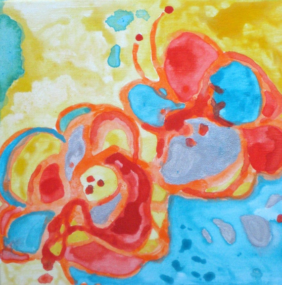 """FLOWERS painting ORIGINAL abstract  10""""x10"""" orange red blue silver"""