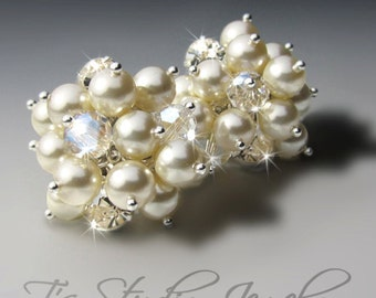 Crystal and Pearl Cluster Bridal or Bridesmaid Earrings - Silver and Ivory Wedding Jewelry - KARA