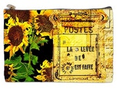 French Post Card Cosmetic Bag, makeup bag, sunflowers, sunflower cosmetic bag, Paris cosmetic makeup bag, Paris cosmetic pouch, NirvanaRoad