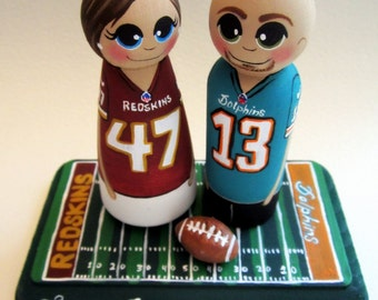 Wedding Cake Topper, Custom Painted Wood Peg Dolls / Football, Hockey, Basketball, Baseball / Sports Fan