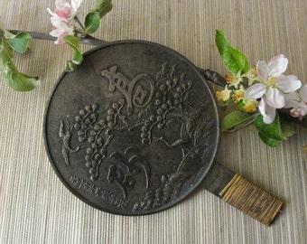 Vintage Japanese Hand Mirror Bronze Kagami