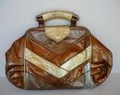 Vintage Bronze Metallic Leather Handheld Purse