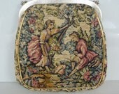 Vintage Tapestry Etched Handheld With Chain Mini Purse