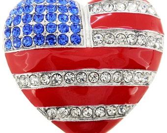 July 4th American Flag Heart Pin Brooch 1001841