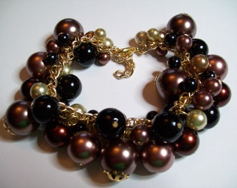Brown and black glass pearl charm bracelet